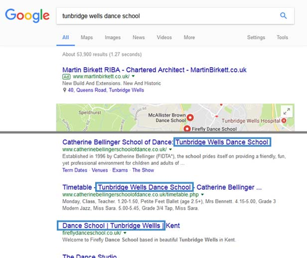 Keyword location in title example